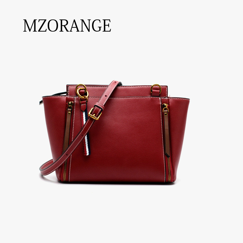 MZORANGE Brand genuine leather women tote bag Fashion Trapeze Shoulder Bag Casual design Ladies Handbag Crossbody Messenger Bags 2018 new style genuine leather woman handbag vintage metal ring cloe shoulder bag ladies casual tote fashion chain crossbody bag