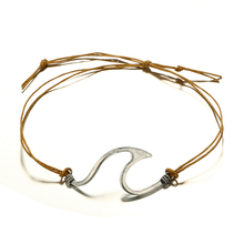 Bohemian Wave Brown Rope Adjustable Bracelet  For Women & Girl  Metal Silver Surfer Bracelets Bangle Set Party Jewelry