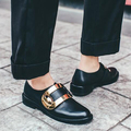 2017 новый бренд обувь сплошной цвет гладиатор низкий каблук круглый носок британский ленивый стиль металлические украшения из натуральной кожи грейс обувь