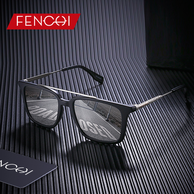 FENCHI Sunglasses Men Polarized Design Square Retro Driving Vintage Fishing Metal Sun glasses lunettes de soleil homme