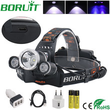 BORUiT UV Purple LED Headlamp Ultraviolet Flashlight 395nm UV Headlights Rechargeable Camping Hunting Head Torch Light Lamp(China)