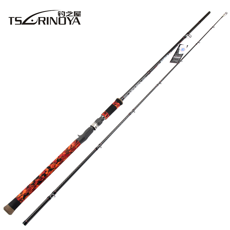 TSURINOYA 762XH 802SH Casting Fishing Rod 2.28m 2.4m 2 Section Carbon Lure Rod with FUJI Guide Rings and Reel Seat Snakehead Rod