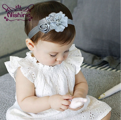 Nishine 1PCS Newborn Stain Rose Pearl Chiffon Flower Rhinestone Headband Fashion Infant Children Handmade Baby Girls   Headwear