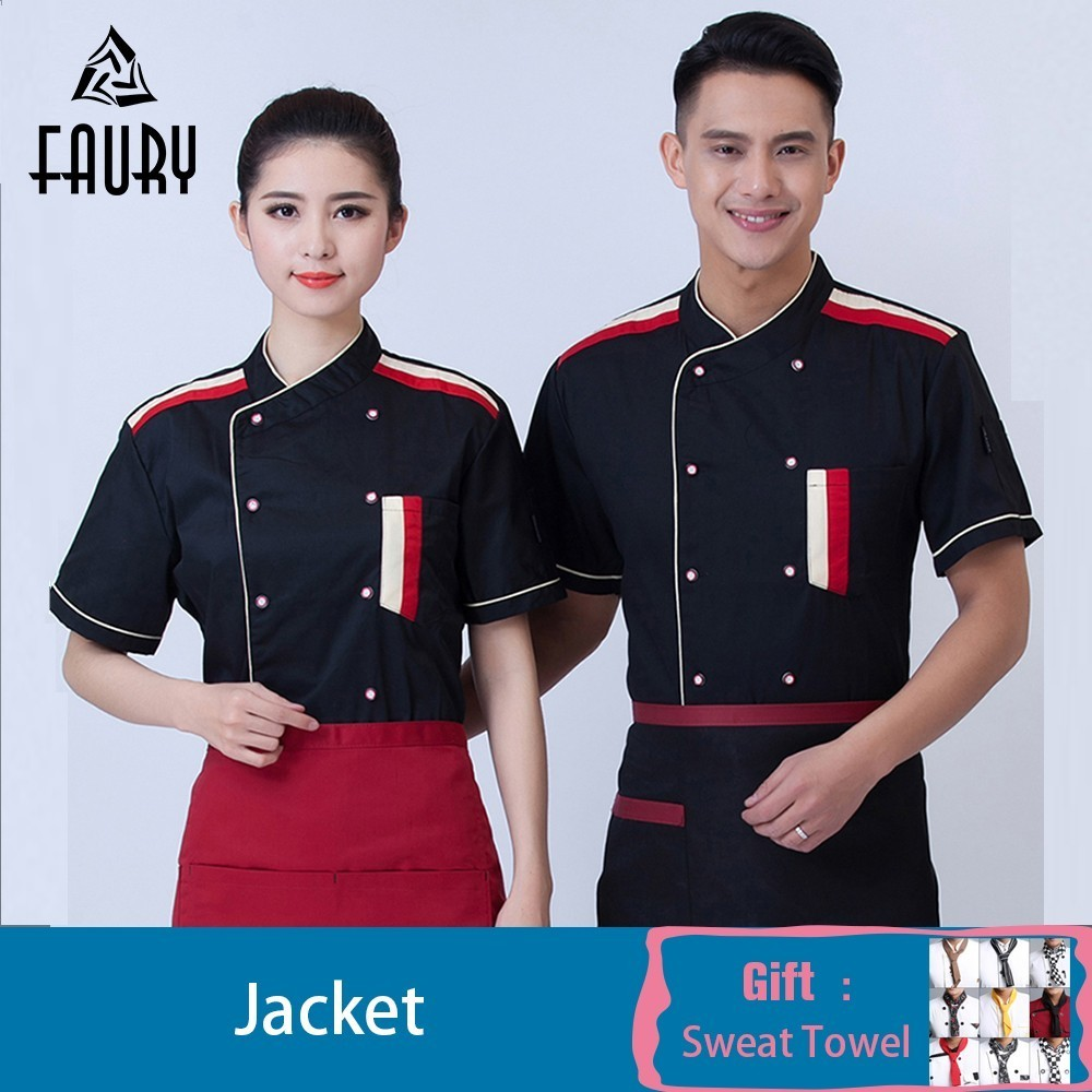 Wholesale Chef Jacket Cook Shirt Clothing Women Men Short Sleeve Restaurant Uniform Cafe Pastry Work Clothes Free Scarf Gift