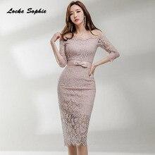 1pcs High waist Ladies Plus size Sexy Lace party dresses 2019 Autumn Splicing hollow belt Dress womens Skinny
