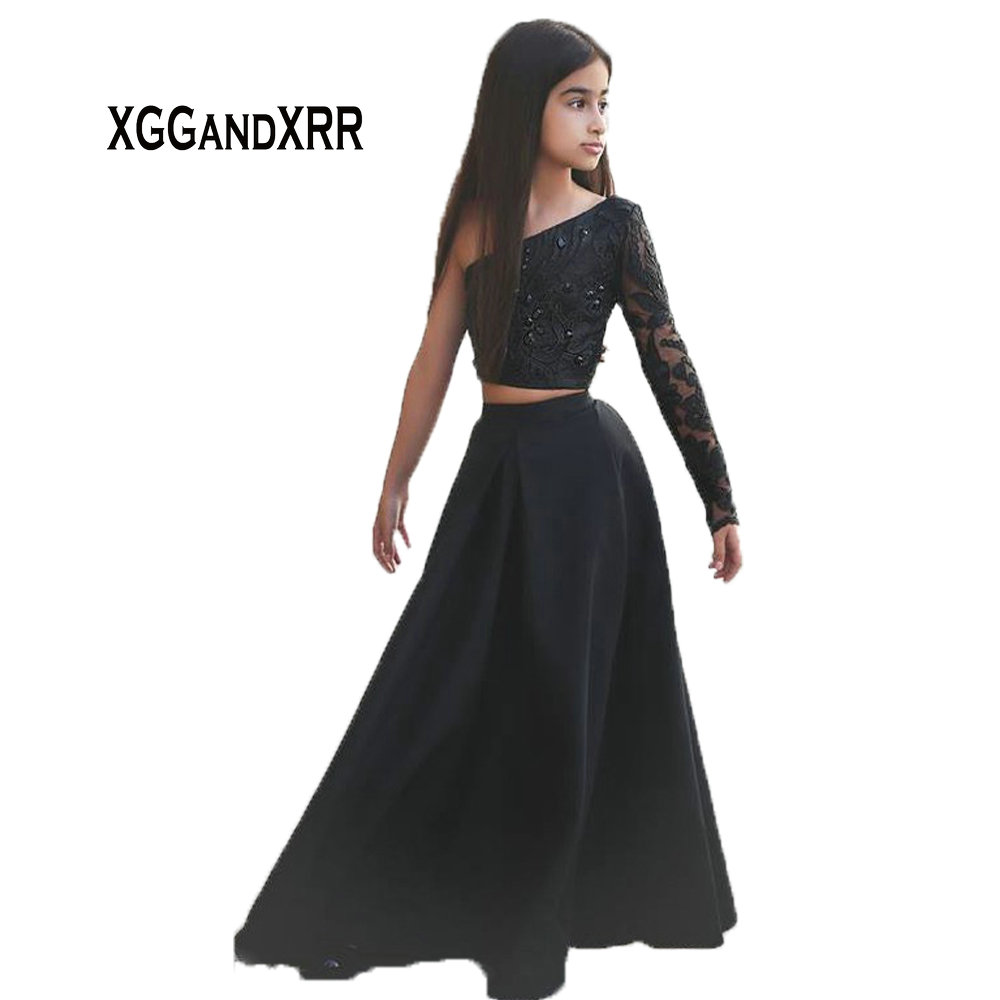 A-610 Said Mhamad Black One Shoulder Long Sleeve Kids Prom   Dresses   A Line Two Piece Beaded   Flower     Girls     Dresses   2017 Fashion