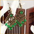 Yanting New Arrival earring Fashion Jewelry Bronze Green Chalcedony Hollow Flower Drop Earrings Unique Gift 0363