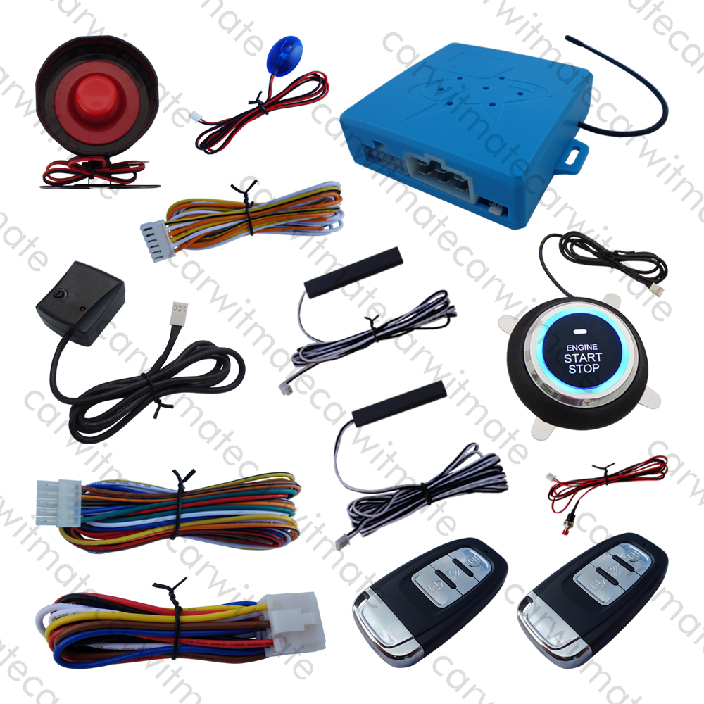 Universal PKE Car Alarm System Passive Keyless Entry With Vibration Alarm Remote Start Push Button Start Many Hopping Code universal rolling code pke car alarm system remote start stop engine push button start passive keyless entry remote open trunk