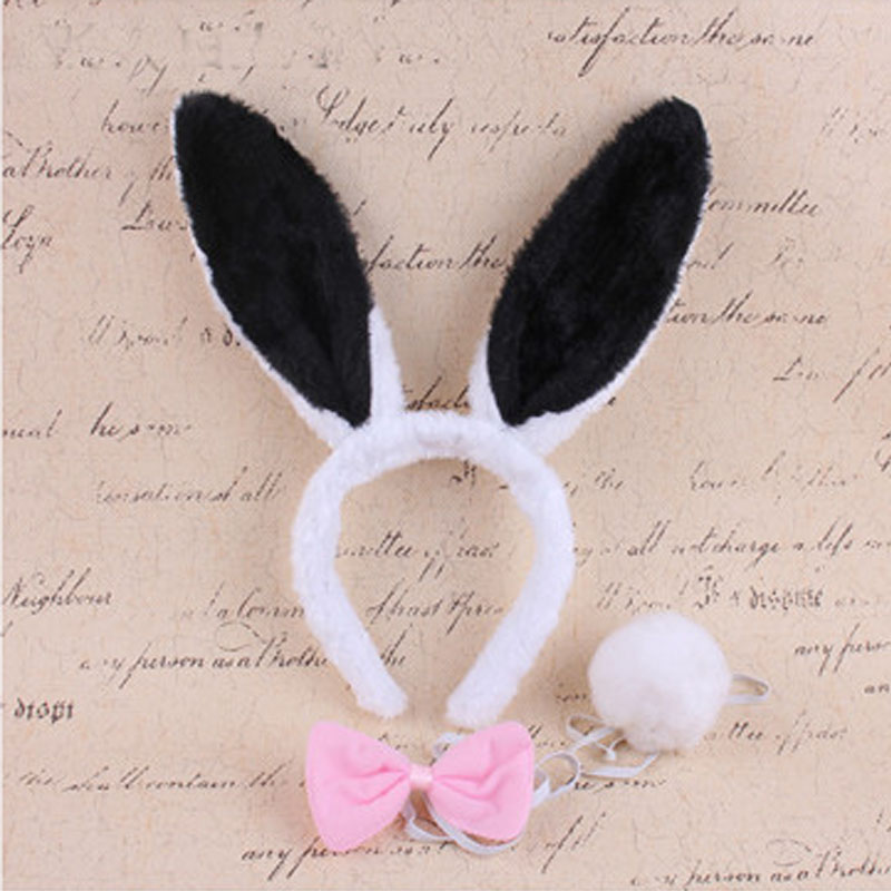 Woman Girl  Plush Fluffy Bunny Rabbit Ears Headband Tail Tie Costume accessory Halloween Dress Up Cosplay