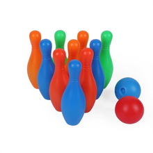 Colorful 12 Piece Bowling Set 10 Pins 2 Bowling Balls Children Kids Educational Toy Fun Family Game(China)