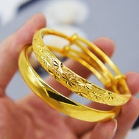 2 Piece Bridal Bangle Set Yellow Gold Filled Star And Smooth Bracelet Women Jewelry Wholesale