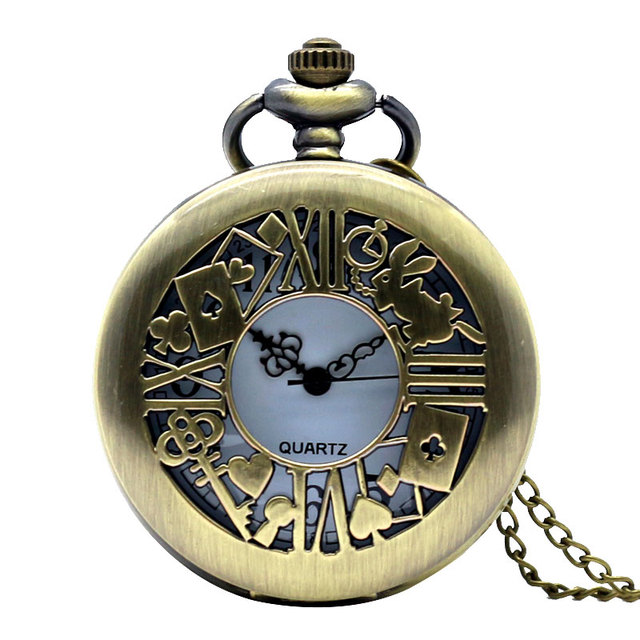 Retro Pocket Watch Bronze Quartz Clock Hollow Necklace Alice In Wonderland Rabbi