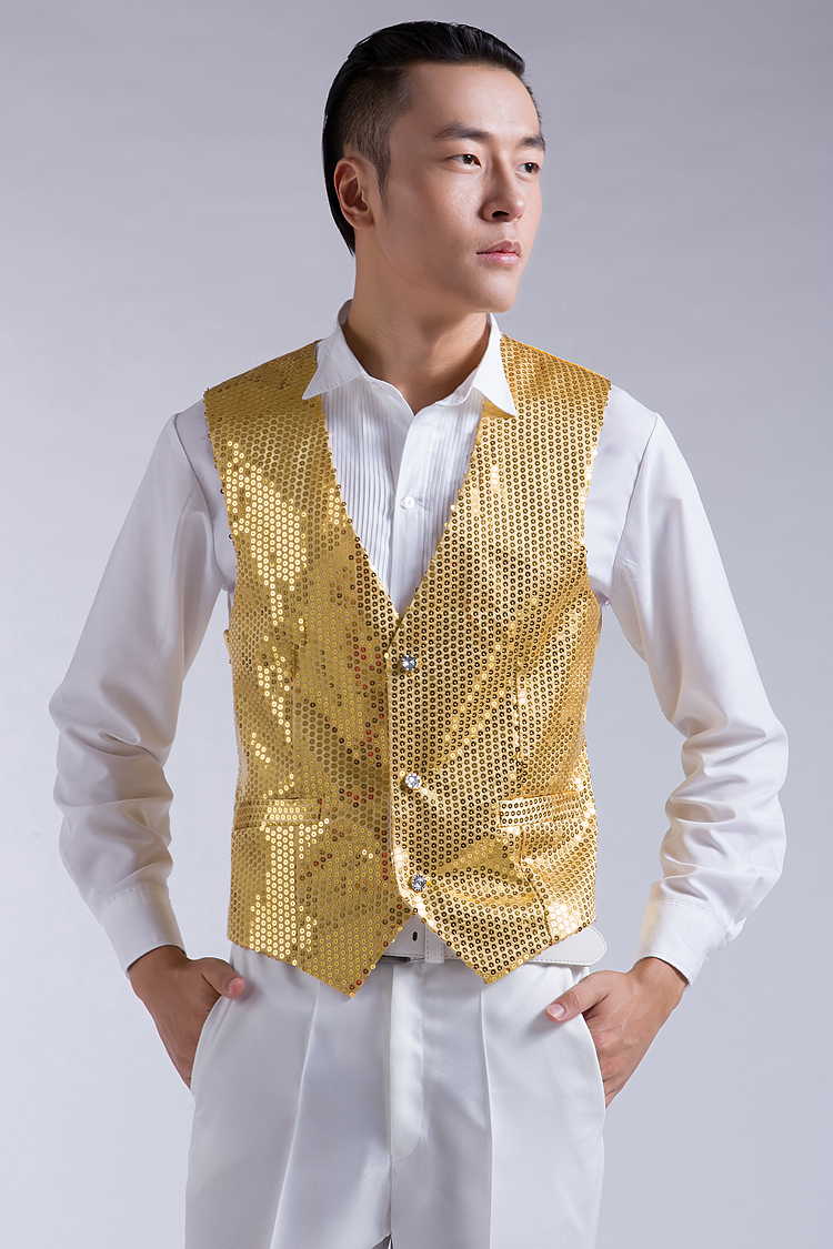 New Fashion Leisure Men Vests suits slim Sequins gold red black White gray blue Dj stage free shipping