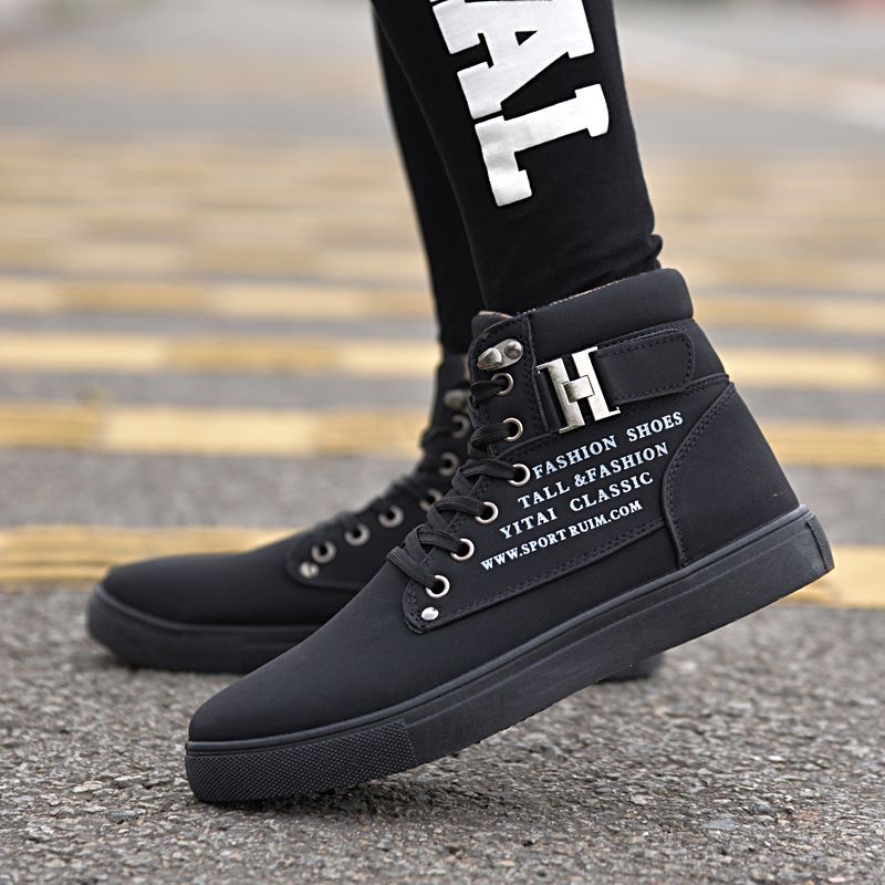1024a215f GOXPACER 2018 New Men Shoes Casual Shoes Lace-up Flat Heel Canvas Shoes  Fashion Cotton Men Buckle Thermal Casual High-Top Metal