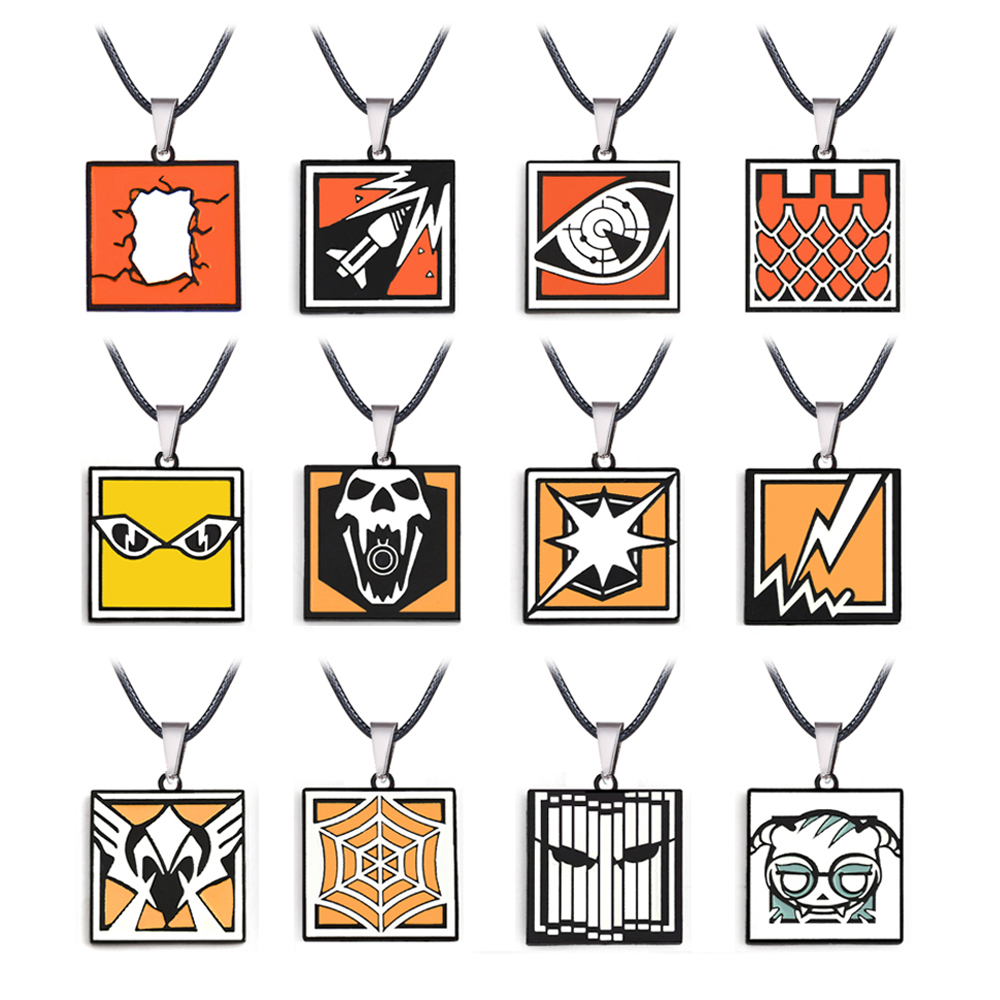 Game Rainbow Six R6 Necklace 36 Model Metal Pendant Rope Chain Choker Necklaces Women Men Colorful Charms Gifts Game Jewelry