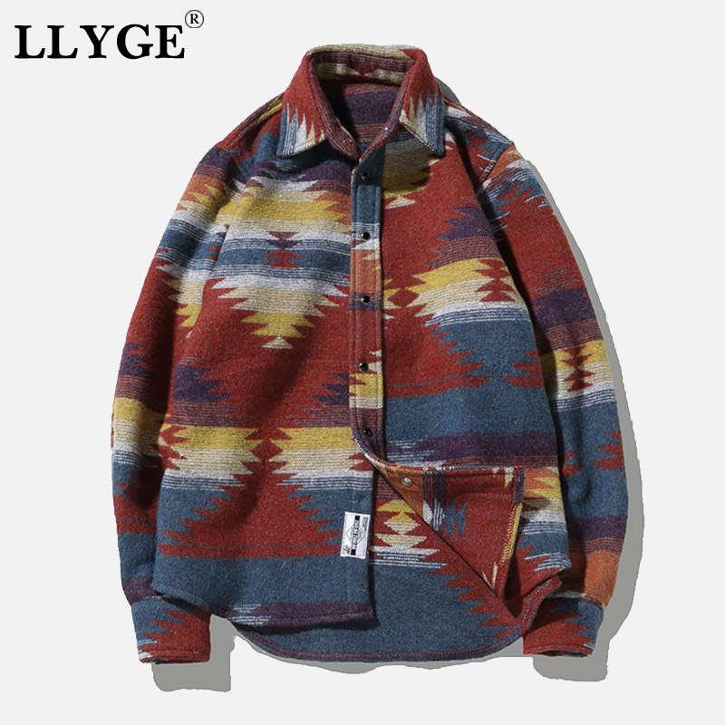 Фланелевая шерстяная Мужская рубашка в народном стиле, топ размера плюс 5XL, мужские рубашки с длинным рукавом, топы 2019, повседневная мужская ...