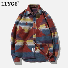 LLYGE Flannel Woolen Folk-Custom Plus Size 5XL Pattern Long Sleeve Shirts Tops 2019