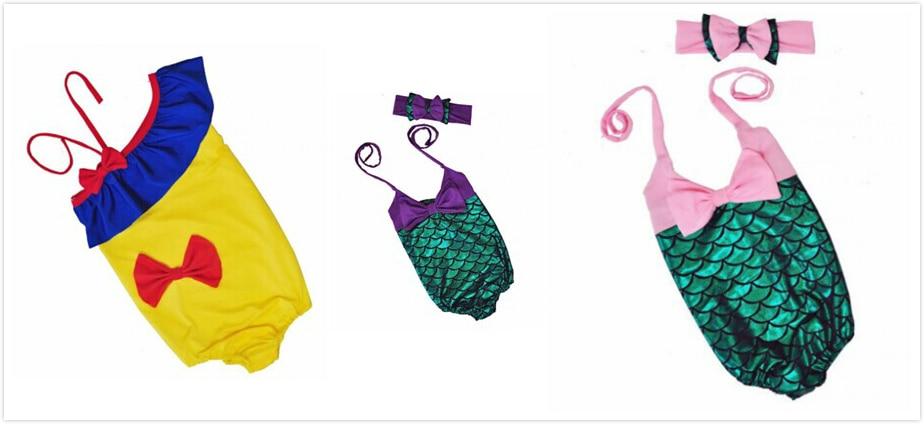 baby girls swim suit purple green pink yellow red mermaid Bikini bathing suit Summer clothes swimwear matching with headwear set