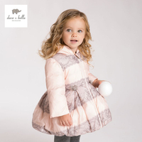 DB4274 dave bella winter baby girls pink lace printed down coat parkas