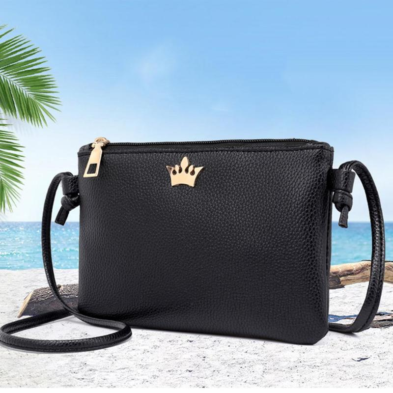 New Zipper Crossbody Bags For Women Mini Shoulder Bags Girl PU Leather Totes Crown Envelope Fashion Women Messenger Bag Handbags