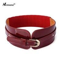 Fashion Women Elastic Belt Pin Buckle Cowskin Genuine Leather Belt For Women Wide Waist Belts Casual