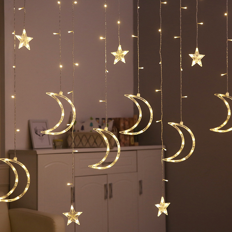 3.5M 220V EU LED Star Moon Fairy Curtain Lights Christmas Garland String Light Outdoor/Indoor For Wedding Party New Year Decor
