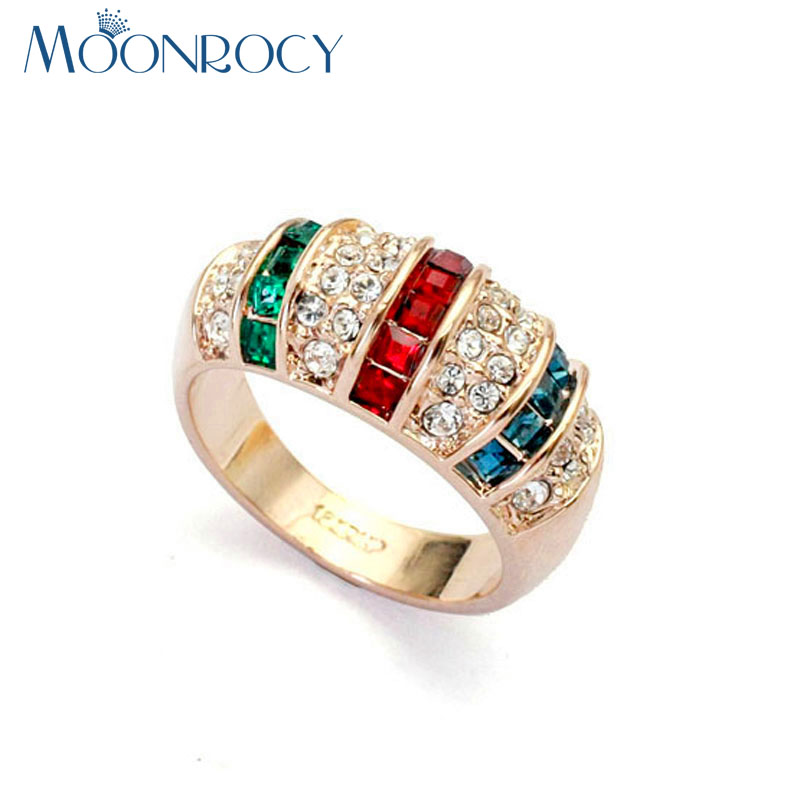 MOONROCY Free Shipping Fashion Jewelry Cubic Zirconia Rose Gold Color Vintage Multicolor Colourful Crystal Ring for Women Gift