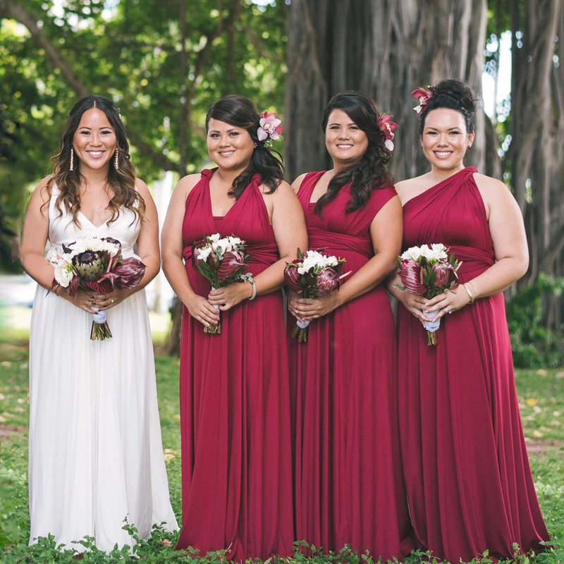 Plus Long Dress Bridesmaid Dress Burgundy Multiway  Infinity Maxi Dress Wrap Dress With Sleeves Styles