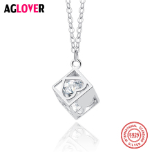 925 Sterling Silver Square Cube Rhinestones Choker Statement Heart Necklace Women Charm Pendants Necklaces Jewelry