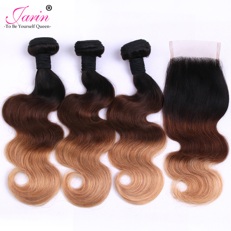 Ombre Brazilian Body Wave Human Hair Bundles With Lace Closure 1B427 Blonde Human Hair Weave 3 Bundles With Closure 8A Grade