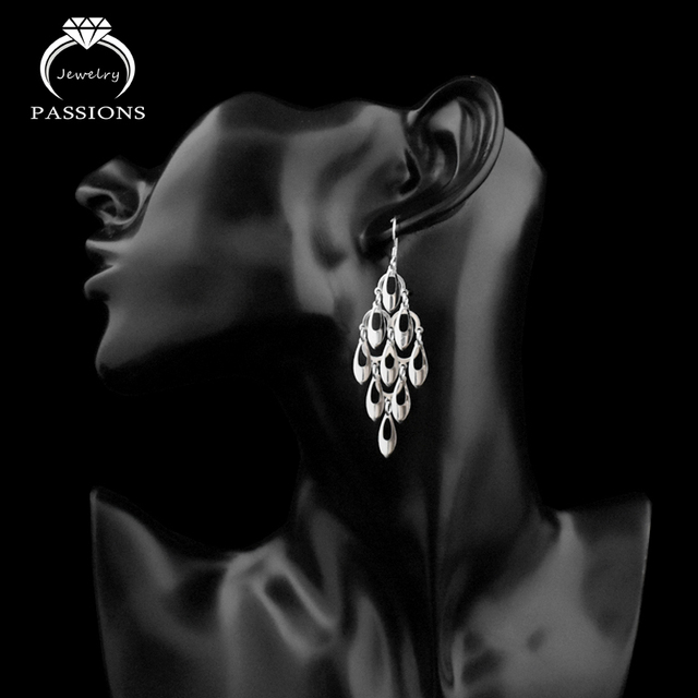 925 Sterling Silver Bohemian Peacock Tail Dangle Earrings 6