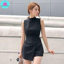 Женский короткий комбинезон с поясом в Корейском стиле черный