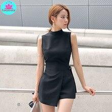 2019 קיץ חדש קוריאני אופנה slim הרזיה סדיר נשים של חגורה שחור קצר סרבל מוצק סקיני מקרית