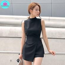 2019 summer new Korean fashion slim slimming irregular womens belt black short jumpsuit Solid  Skinny  Casual