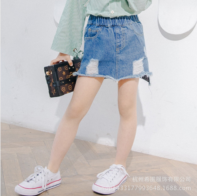 2017 new girls denim skirt spring and autumn children's wear Korean children's skirts free shipping