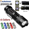 2000LM LED Tactical Flashlight CREE Q5 Torche Lampe Powerful Flashlight LED Laterna 3 Modes Zoomable Torch 1*AA/1*14500 ZK93