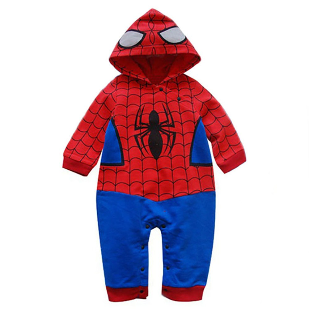 2018 spiderman baby boy   romper   bebe cartoon jumpsuit full sleeve hoodies   romper   baby costume roupas meninos