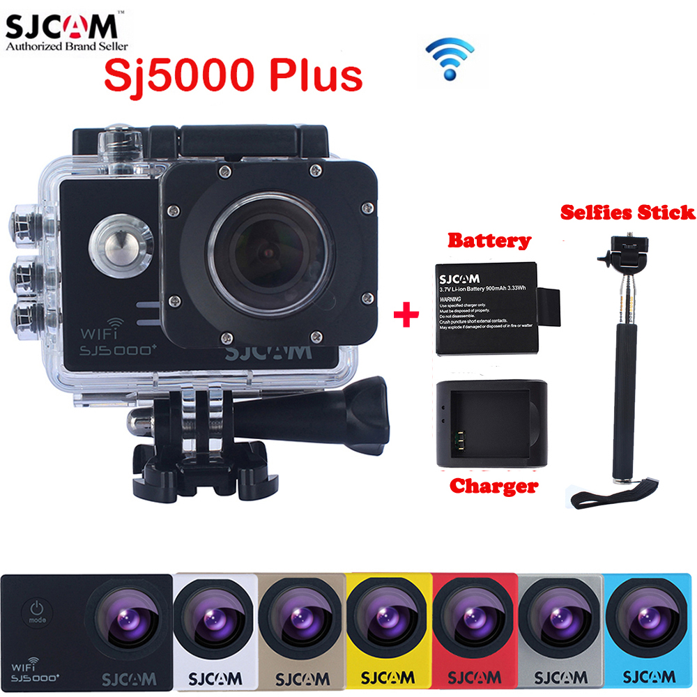 Original SJCAM SJ5000 Plus WiFi 30M Waterproof Sports Action Camera Sj 5000 Plus Cam DVR With Extra a Battery+a Charger+Monopod original sjcam sj5000x elite sj5000 plus sj5000 wifi sj5000 30m waterproof sports action camera sj cam dv with many accessories
