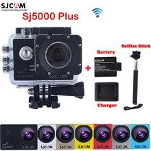 Original SJ5000 SJCAM Plus WiFi 30 M Cámara de Acción Deportiva Impermeable Sj 5000 Plus Cam DV Con una Batería Adicional + un Cargador + Monopie