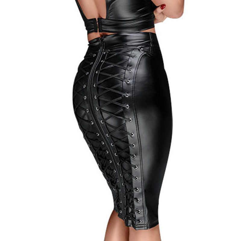 f84e53dacb84 Sexy Women Black Wetlook PU Leather Skirt High Waist Lace Up Bodycon Midi  Skirt Tight Pencil