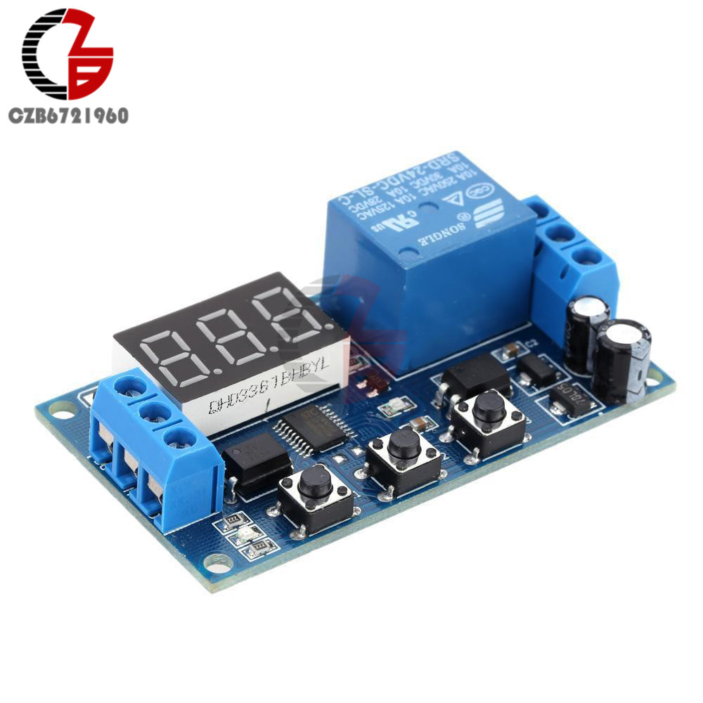 Digital LED Trigger Delay Time Cycle Timer Control Switch Relay Module 24V 220vac digital time delay repeat cycle relay timer 1s 990h led display 8 pin panel installed dh48s s spdt