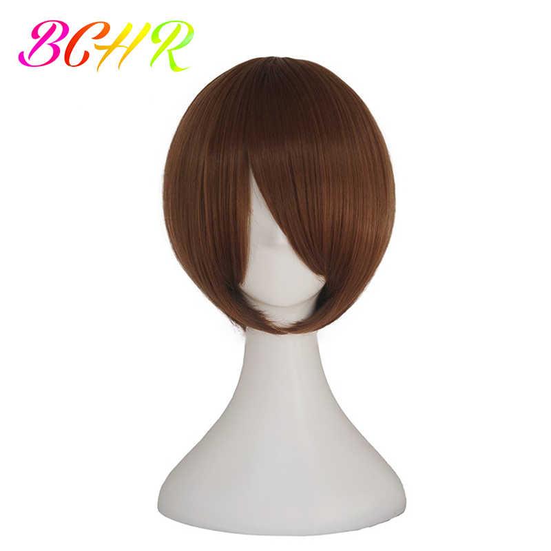 Bchr curto bob sintético cosplay peruca com lado bang para as mulheres em linha reta loira peruca marrom azul preto rosa 24 cor perucas de festa