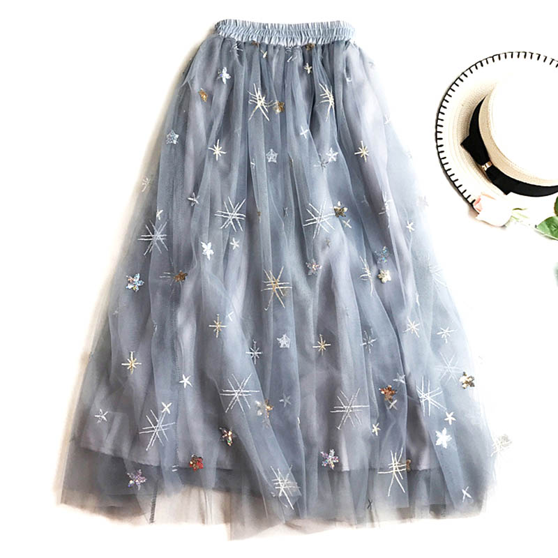 Women Summer Skirt Net Embroidery Half Slip High Waist Lace Tutu Skirt -MX8