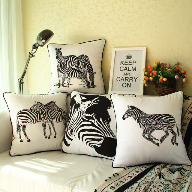 Terrific Us 11 5 Wild Animal Cushion Cover Black And White Zebra Throw Pillows Case For Sofa Chaise Lounge Sofa Cotton Almofada 45Cm Size In Cushion Cover Andrewgaddart Wooden Chair Designs For Living Room Andrewgaddartcom