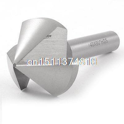 12mm Shank 40mm Cutting Diameter HSS Chamfer Milling Cutter Bit Silver Tone