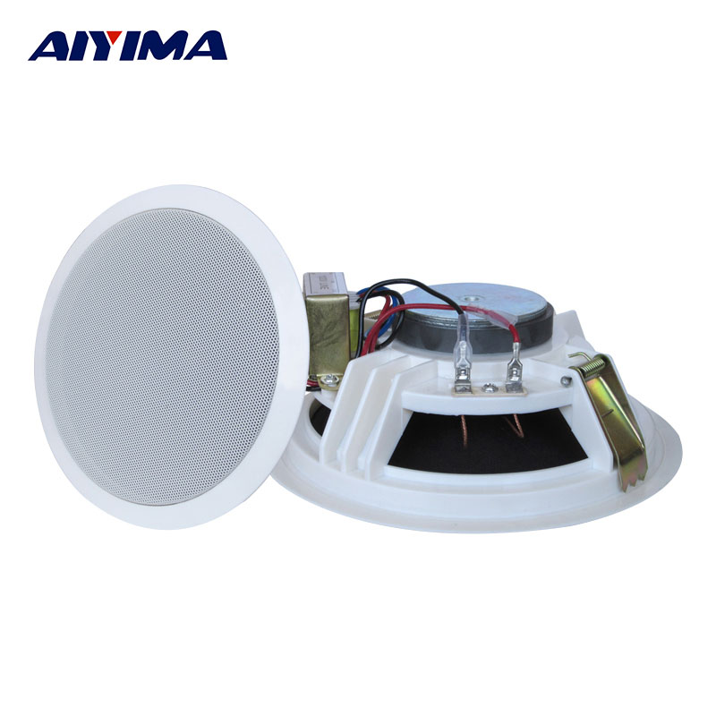 Aiyima 1PC 5inch Ceiling Wall Audio Speaker 3W/6W Ceiling Radio Speakers Background Music Public Broadcasting System Loudspeaker
