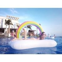 210cm*140cm*135cm Original large rainbow clouds float row adult inflatable swimming circle