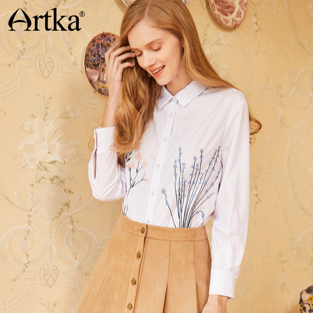 aa0331d852 Artka Summer 2018 New Pearl Embroidery Decorative Button All-match Full Sleeve  Female Fresh White