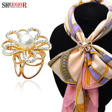 New gold color scarf brooches for women imitation pearl scarf buckle clips rhinestone brooch flower collar brooch Accessories