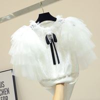 Princess Mesh knit woman's slim T shirt summer skinny bow black white tops